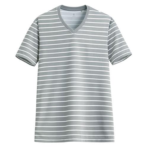 吸排條紋V領T恤-男