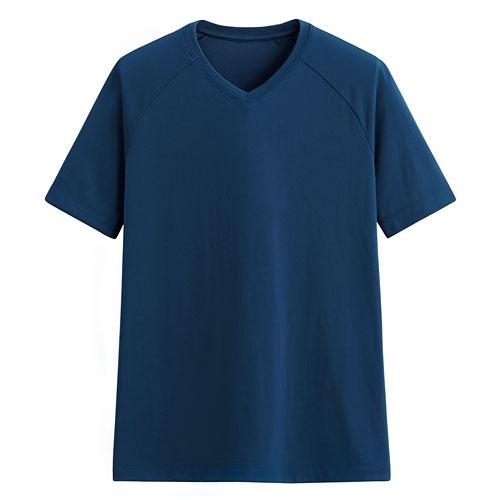 吸排無側縫V領T恤-男