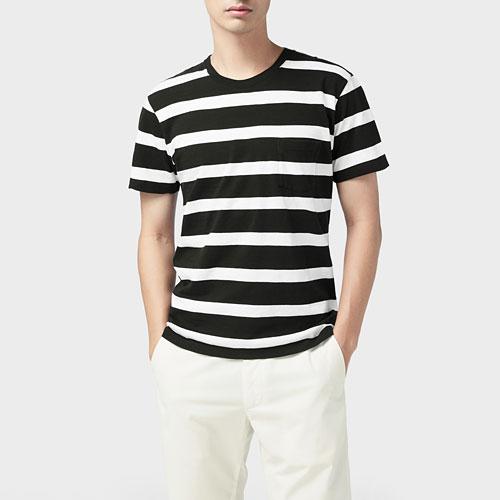 竹節棉條紋短袖T恤-男