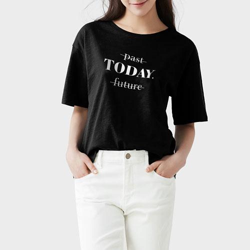 竹節棉文字寬版T恤-女