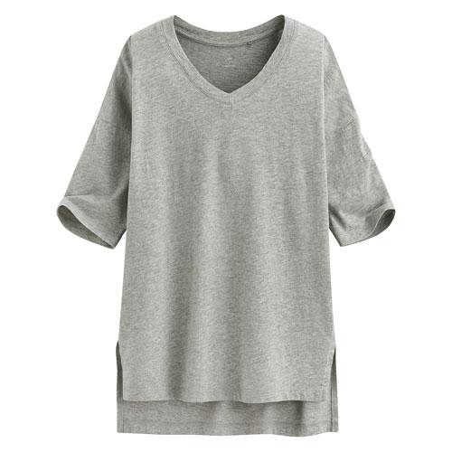 竹節棉V領T恤-女
