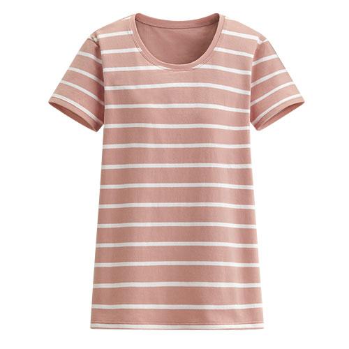 Bra圓領條紋短袖T恤-女