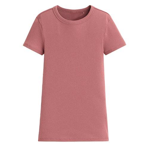 羅紋圓領短袖T恤-女