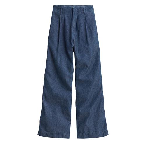 軟牛仔高腰寬褲-女