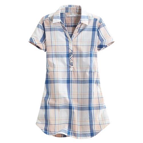 格紋長版短袖衫-女