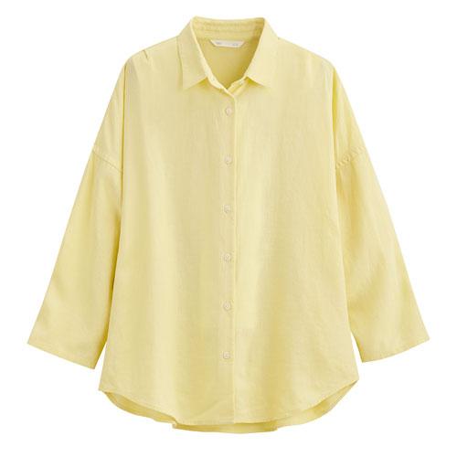 亞麻混紡寬版七分袖襯衫-女