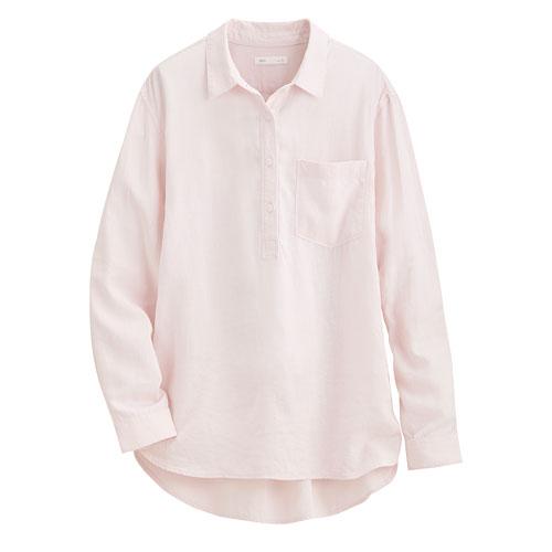 亞麻混紡寬版襯衫-女