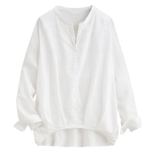 亞麻混紡立領長袖襯衫-女