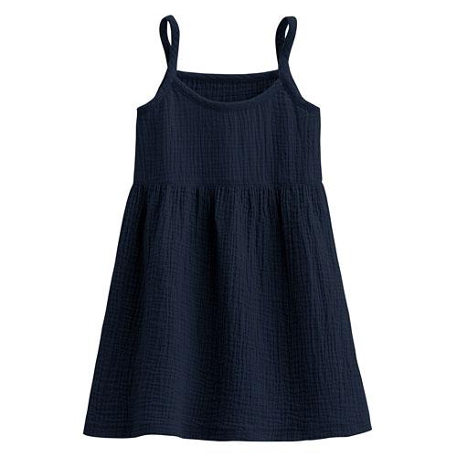 純棉微皺吊帶裙-童