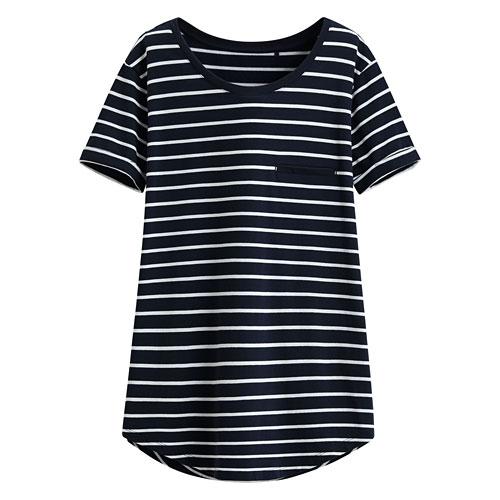 輕柔條紋寬鬆短袖衫-女