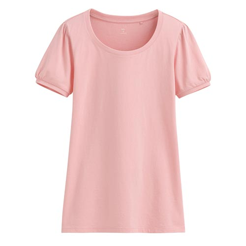 純棉泡泡袖T恤-女