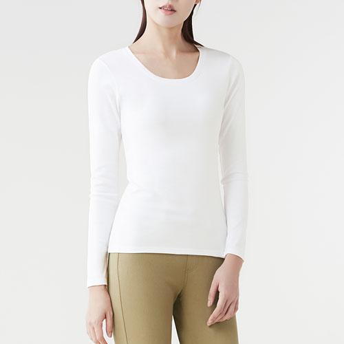 棉質彈性羅紋圓領長袖T恤-女