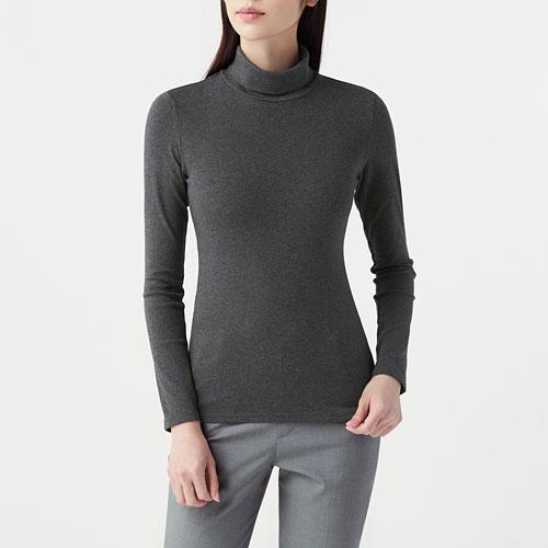 棉質彈性羅紋高領T恤-女