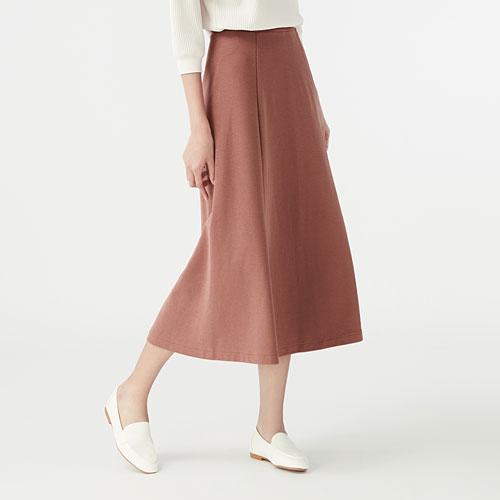 厚織羅紋寬襬裙-女