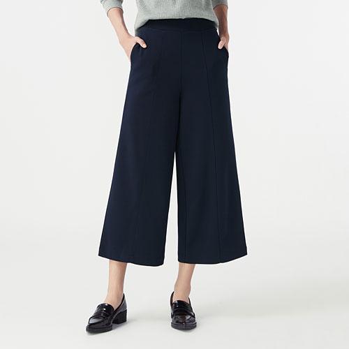 厚織羅紋寬版褲-女