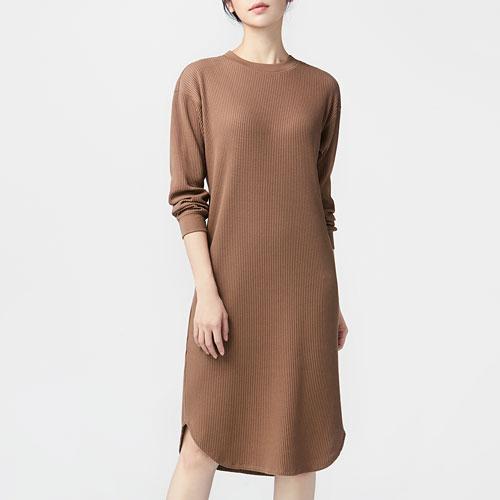 華夫格圓領洋裝-女