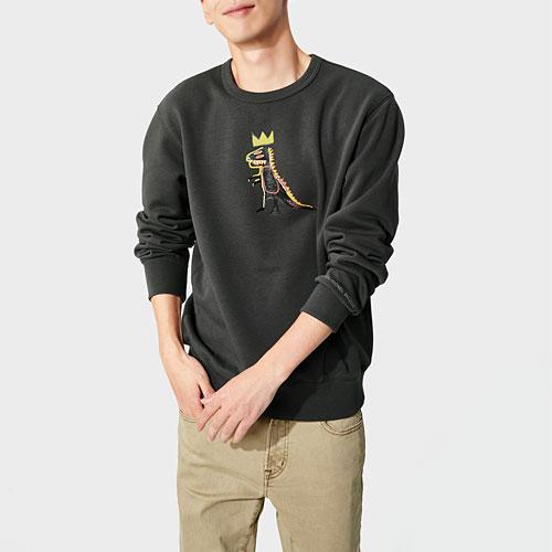 Jean-Michel Basquiat刷毛圓領衫-男