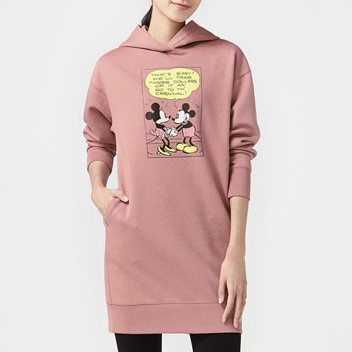 迪士尼系列刷毛長版連帽衫-女