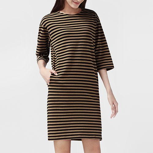 厚磅純棉條紋寬鬆七分袖洋裝-女
