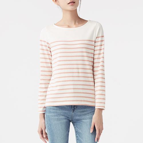 棉質條紋寬領長袖T恤-女