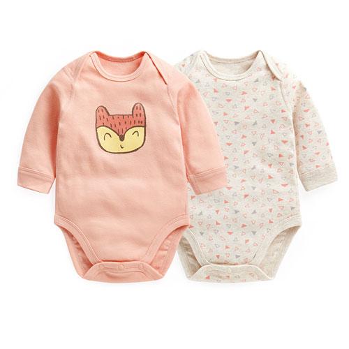 羅紋印花包臀衣(2入)-Baby