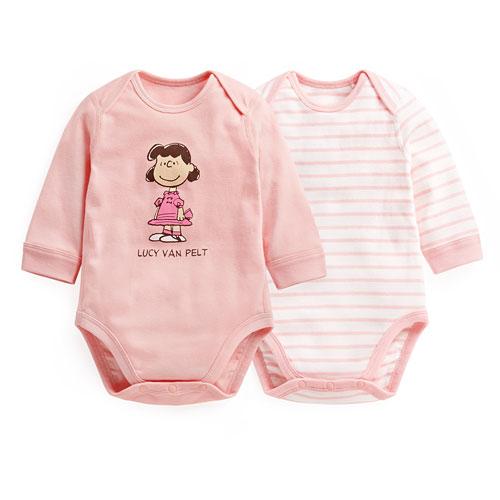 史努比羅紋條紋包臀衣(2入)-Baby