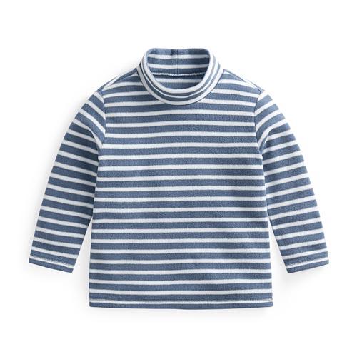 Fleece條紋立領上衣-童