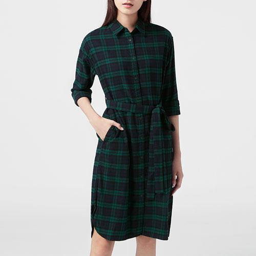 法蘭絨格紋洋裝-女