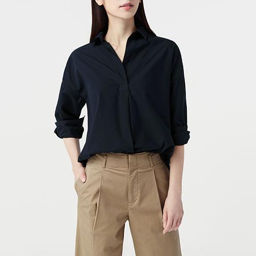 寬版柔棉長袖襯衫-女