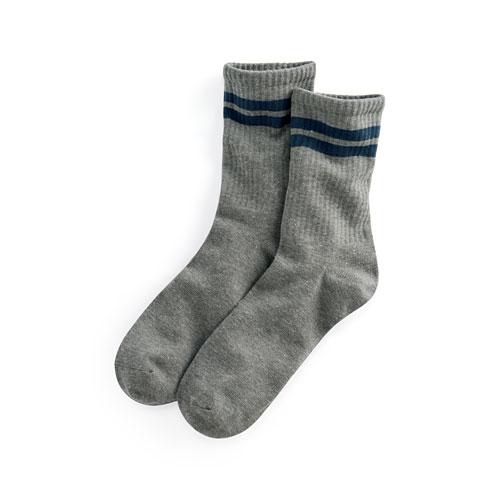 羅紋配條中筒襪-男