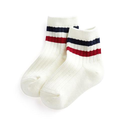 羅紋配條短襪-童