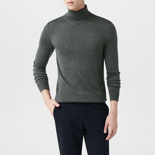 美麗諾羊毛混紡高領毛衣-男