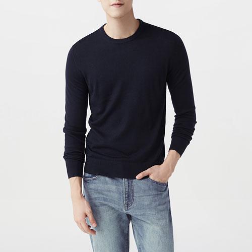 美麗諾羊毛混紡圓領毛衣-男