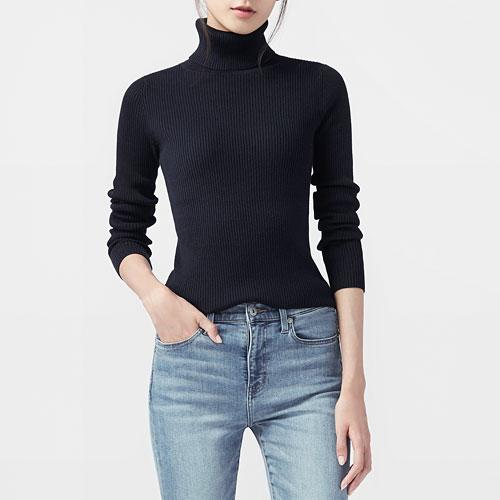 柔軟羅紋高領毛衣-女