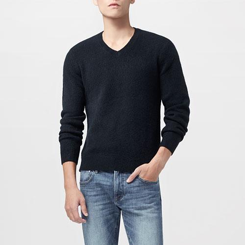 粗針羊毛混紡V領毛衣-男