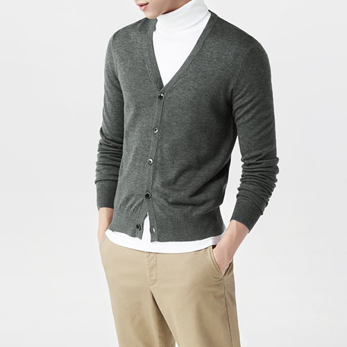 美麗諾羊毛混紡針織外套-男