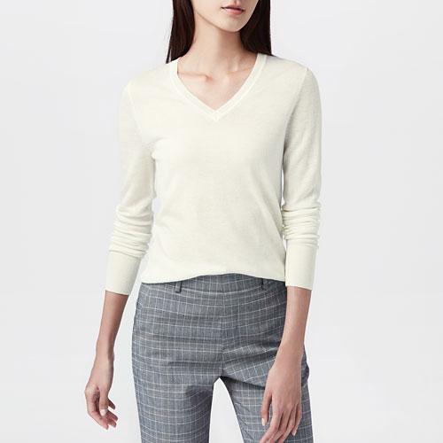 美麗諾羊毛混紡V領毛衣-女
