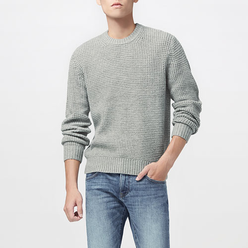 羅紋圓領針織衫-男