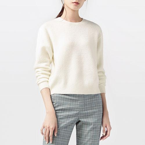 粗針羊毛混紡圓領毛衣-女