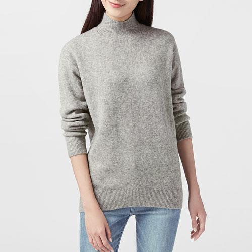 粗針羊毛混紡中高領毛衣-女