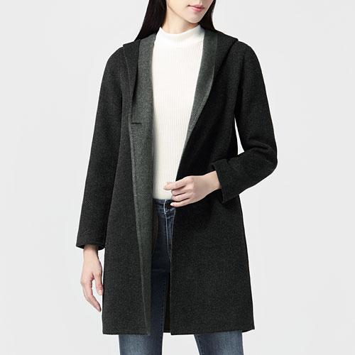 雙面織紋羊毛混紡大衣-女