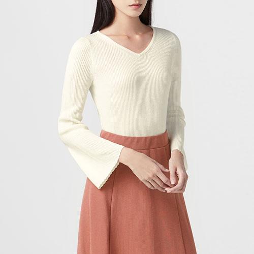 喇叭袖針織衫-女