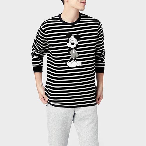 迪士尼系列條紋印花長袖T恤-01-男