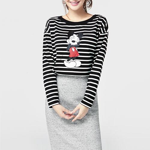 迪士尼系列條紋印花寬版T恤-01-女