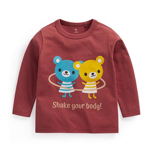 小熊呼拉圈印花長袖T恤-童