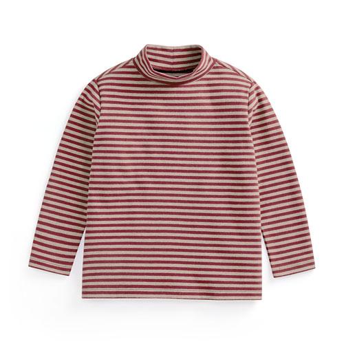 磨毛羅紋條紋立領T恤-童