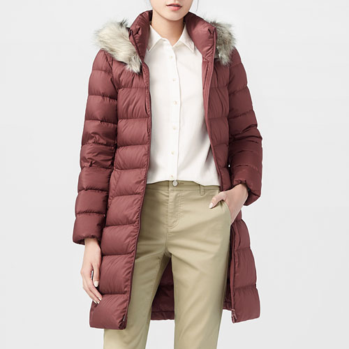 保暖羽絨輕型連帽大衣-女