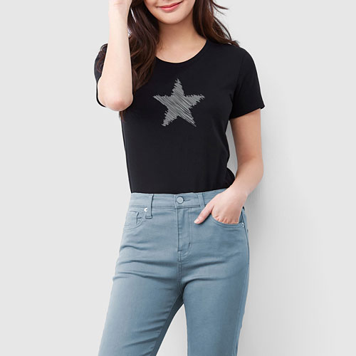 星星印花T恤-女