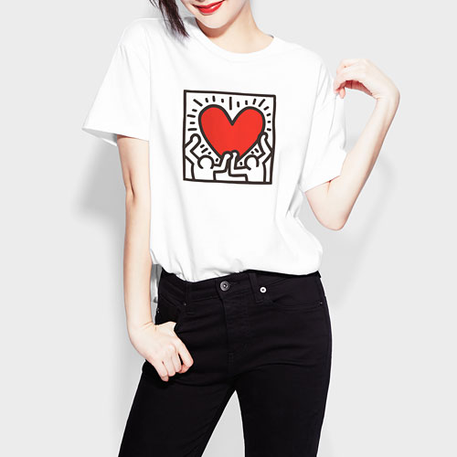 Keith Haring寬版印花T恤-06-女