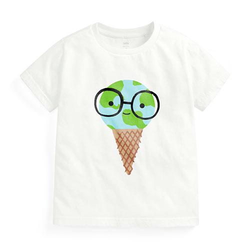 地球甜筒印花T恤-童